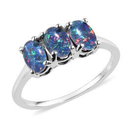 Australian Boulder Opal (Ovl) Trilogy Ring in Sterling Silver