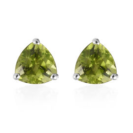 9K White Gold AA Hebei Peridot Stud Earrings (with Push Back) 1.60 Ct.