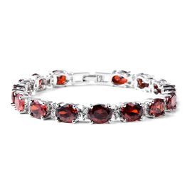 Designer Inspired- Simulated Ruby (Ovl), Simulated White Diamond Tennis Bracelet (Size 7.5) in Silve