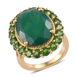 12.45 Ct Verde Onyx and Russian Diopside Halo Ring in Gold Plated Sterling Silver 6.8 Grams