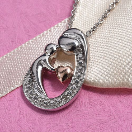 Diamond (Rnd) Mother Child Love Pendant with Chain in Rose Gold and Platinum Overlay Sterling Silver, Silver wt 5.80 Gms