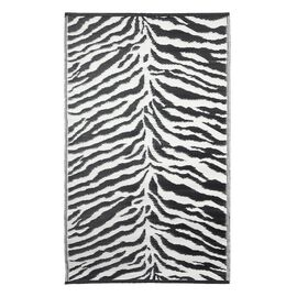 Black and White Colour Zebra Print Pattern Jacquard Woven Outdoor Mat (Size 90x150 Cm)