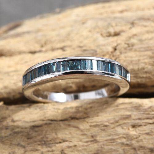 0.50 Ct Blue Diamond Half Eternity Ring in 9K White Gold 3.18 Grams