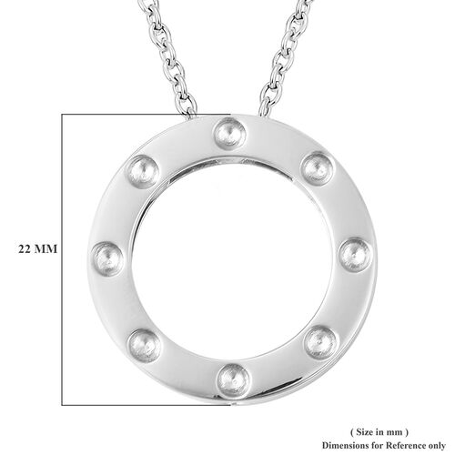 RACHEL GALLEY Majestic Collection Burmese Ruby (Rnd) Circle Pendant With Chain (Size 30) in Rhodium Overlay Sterling Silver, Silver wt 11.81 Gms