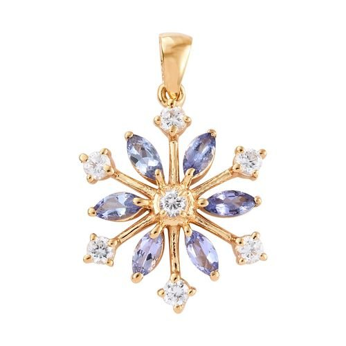 AA Tanzanite (Mrq), Natural Cambodian Zircon Snowflake Pendant in 14K Gold Overlay Sterling Silver 1
