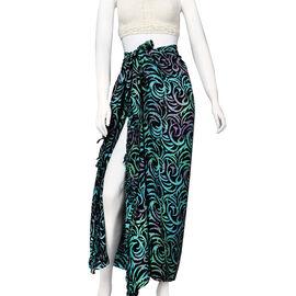 Bali Collection Printed Viscose Sarong (Size 165x120 Cm) - Black & Teal Green