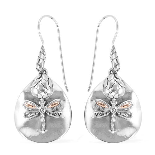 Royal Bali Collection Sterling Silver Dragonfly Hook Earrings 18K Yellow Gold and Sterling Silver wt 8.73 Gms.