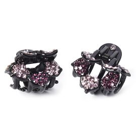 Set of 2 - Crystal Studded Small Hair Claw Clip - Dark Purple