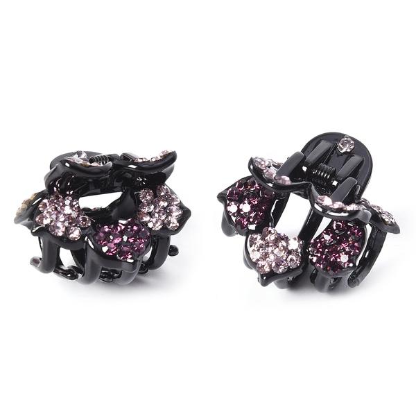 Set of 2 - Crystal Studded Small Hair Claw Clip - Dark Purple
