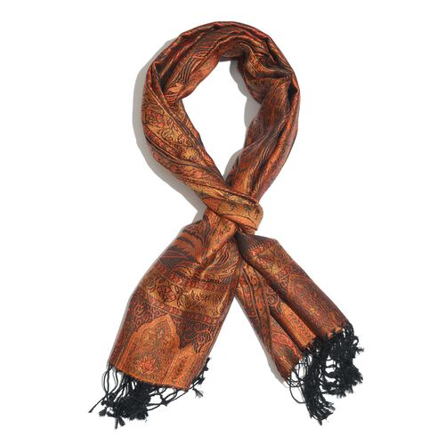 SILK MARK - 100% Superfine Silk Orange, Black and Multi Colour Jacquard Jamawar Scarf with Tassels (