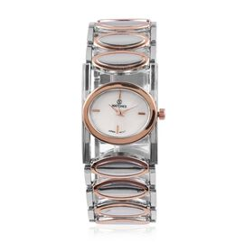 Designer Inspired-STRADA Japanese Movement  Water Resistant Bracelet Watch in Silver and Rose Gold Plated Stainless Steel