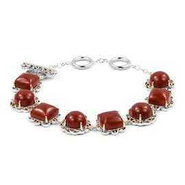 Red Jade (Cush and Rnd) Bracelet (Size 8) in Yellow Gold Overlay Sterling Silver 41.750 Ct, Silver wt 13.57 Gms.