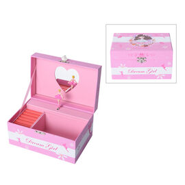 Castle in the Sky Music Pink Jewellery Box with Heart Shape Mirror and Pink Interior (18x12x10cm)