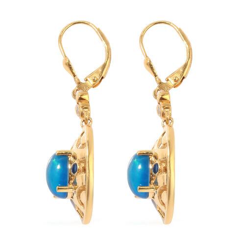 Blue Ethiopian Opal Enamelled Lever Back Earrings in 14K Gold Overlay Sterling Silver 2.25 Ct, Silver wt 6.30 Gms