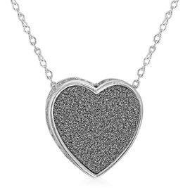 Sterling Silver Stardust Heart Necklace (Size 18)