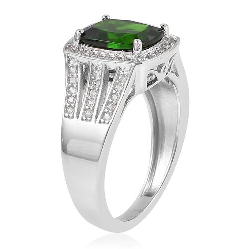 Russian Diopside (Cus 2.250 Ct.), Natural White Cambodian Zircon Ring in Rhodium Overlay Sterling Silver 2.675 Ct.