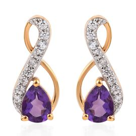 Amethyst (Pear), Natural Cambodian Zircon Earrings (with Push Back) in 14K Gold Overlay Sterling Sil