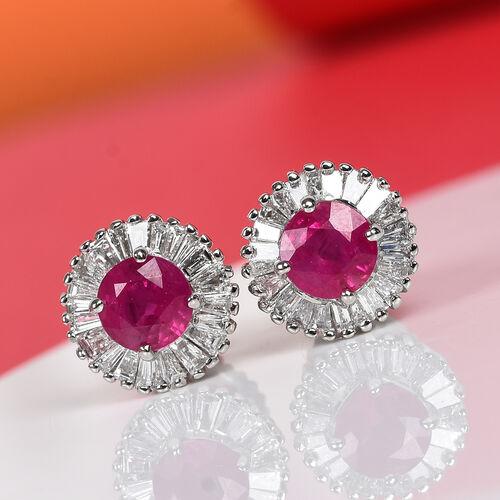 RHAPSODY 950 Platinum AAAA Burmese Ruby and Diamond Stud Earrings 1.25 Ct.