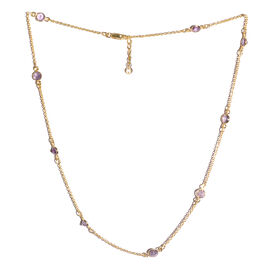 New York Special Close Out Deal- Amethyst (Rnd) Necklace (Size 18 with 1 inch Extender) in Yellow Gold Overlay Sterling Silver 3.950 Ct