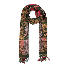 Seamless Floral Pattern Scarf (Size 70x200 mm) with Tassels - Dark Green