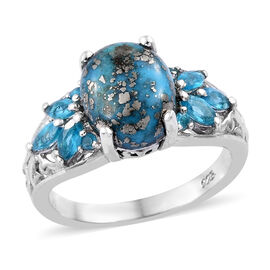 3.5 Ct Persian Turquoise and Malgache Neon Apatite Ring in Platinum Plated Sterling Silver