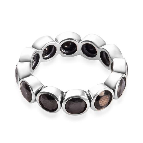 Elite Shungite Bezel Set Eternity Band Ring in Sterling Silver 2.50 Ct.