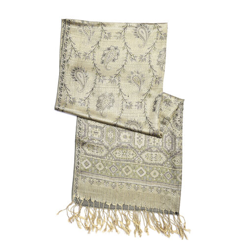 SILK MARK - 100% Superfine Silk Light Green, Golden, Purple and Multi Colour Paisley and Floral Pattern Scarf (Size 180x70 Cm)
