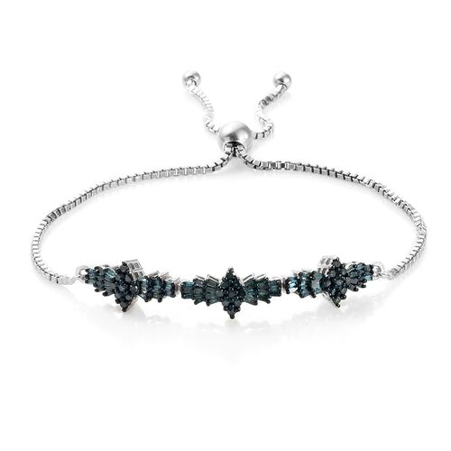 Blue Diamond (Rnd and Bgt)  Adjustable Bracelet (Size 6.5 - 9) in Blue and Platinum Overlay Sterling Silver 1.00 Ct Silver wt 5.80 Gms. Number of Diamond 105