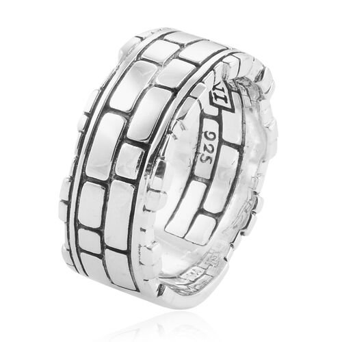 Royal Bali Collection Sterling Silver Brick Pattern Band Ring, Silver wt 9.00 Gms.