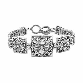 Royal Bali Collection- Sterling Silver Floral Bracelet (Size 7.50 with Half inch Extender), Silver w