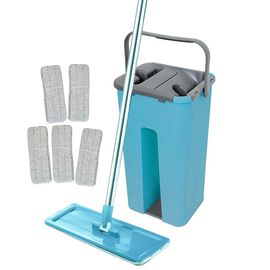 Davis & Grant Flat Mop with Dual Bucket - 5 heads - Blue