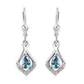 Ratanakiri Blue Zircon and Natural Cambodian Zircon Lever Back Earrings in Platinum Overlay Sterling