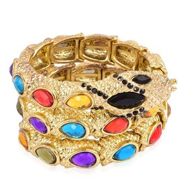Simulated Multi Gemstone Snake Bracelet (Size - 7) in Yellow Gold tone