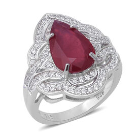 7.18 Ct African Ruby and Zircon Cluster Ring in Rhodium plated Silver 5.60 Grams