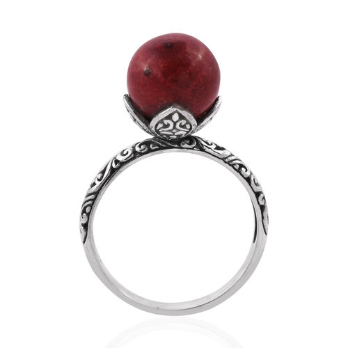 Royal Bali Collection Coral (Rnd) Solitaire Filigree Ring in Sterling Silver