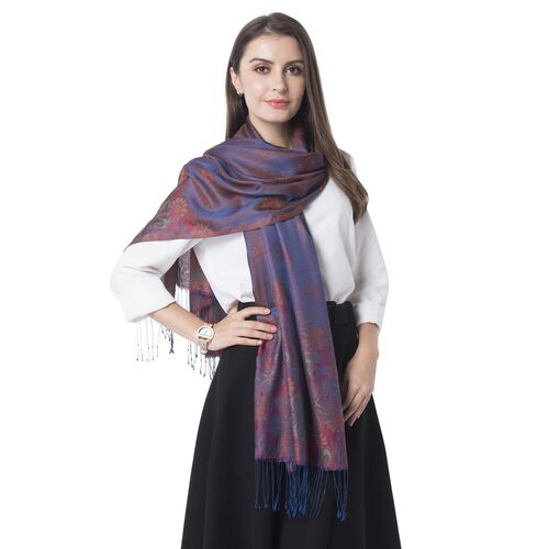 Blue and Purple Colour Scarf with Chrysanthemum Flower Pattern with Tassels (Size 180x70 Cm)