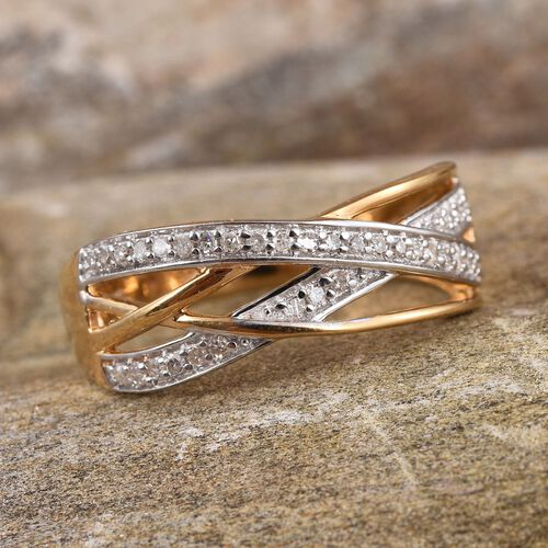 Diamond (Rnd) Criss Cross Ring in 14K Gold Overlay Sterling Silver 0.250 Ct.