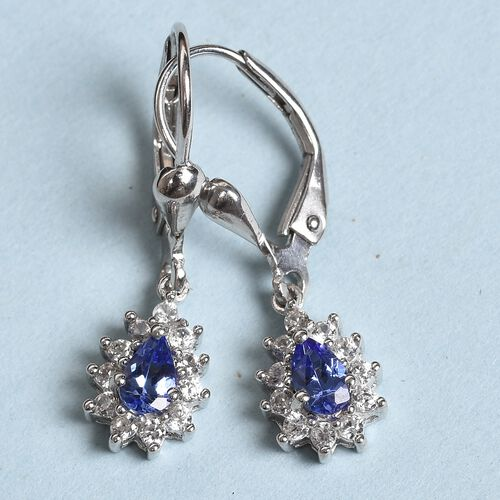 AAA Tanzanite and Natural Cambodian Zircon Drop Earrings (with Push Back) in Platinum Overlay Sterling Silver 1.00 Ct.