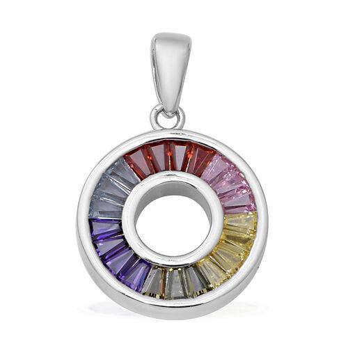 ELANZA Simultaed Rainbow Sapphire Pendant in Rhodium Overlay Sterling Silver 2.10 Ct.