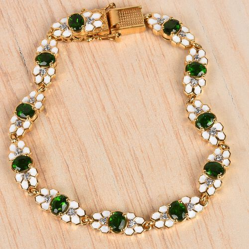 Russian Diopside and Natural Cambodian Zircon Enamelled Bracelet (Size 7.5) in 14K Gold Overlay Sterling Silver 4.84 Ct, Silver wt 16.05 Gms