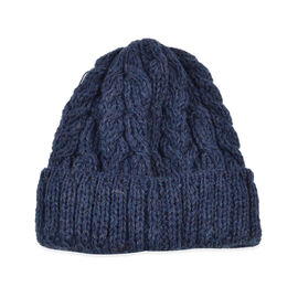 Aran 100% Pure Woollen Mills Cable Irish Hat in Navy Colour (One Size)