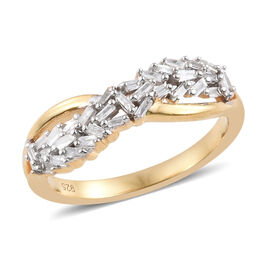 Diamond (Taper Bagguet) Ring in 14K Gold Overlay Sterling Silver 0.250 Ct
