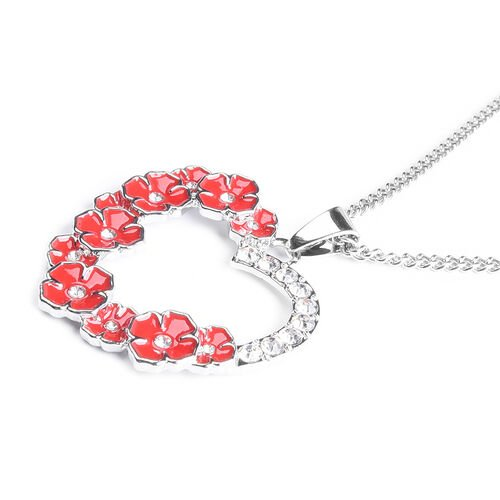 TJC Poppy Design - White Austrian Crystal Enamelled Poppy Open Heart Pendant With Chain (Size 26) in Silver Tone