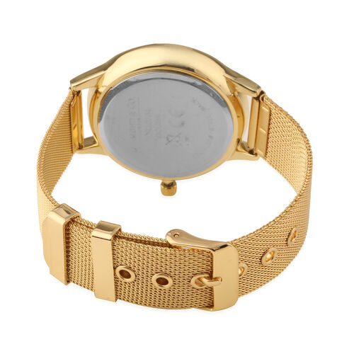 DIAMOND and CO LONDON Diamond Studded White Dial Bracelet Watch with a Stainless Steel Mesh Style Strap in Gold Tone