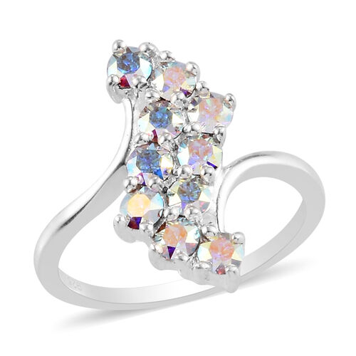 J Francis Crystal from Swarovski AB Crystal Bypass Ring in Sterling Silver