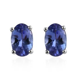 9K White Gold AA Tanzanite (Ovl) Stud Earrings (with Push Back) 1.25 Ct.