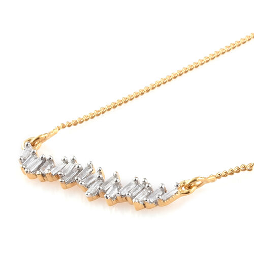Diamond (Bgt) Necklace with Chain (Size 18 with 2 inch Extender) in 14K Gold Overlay Sterling Silver 0.200 Ct