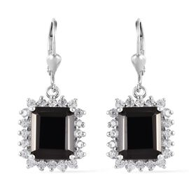 7 Ct Elite Shungite and Zircon Halo Drop Earrings in Platinum Plated Sterling Silver