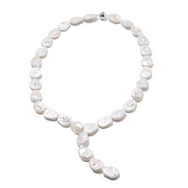Close Out Deal- Baroque White Pearl Necklace (Size 24) with Magnetic Lock in Rhodium Overlay Sterlin