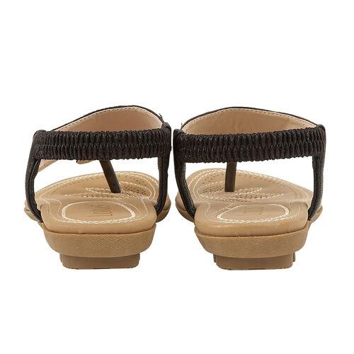 Lotus Black Delia Flat Toe-Post Sandals (Size 4)